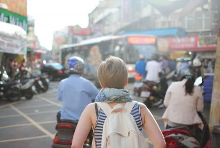 Backpacker woman in Asia