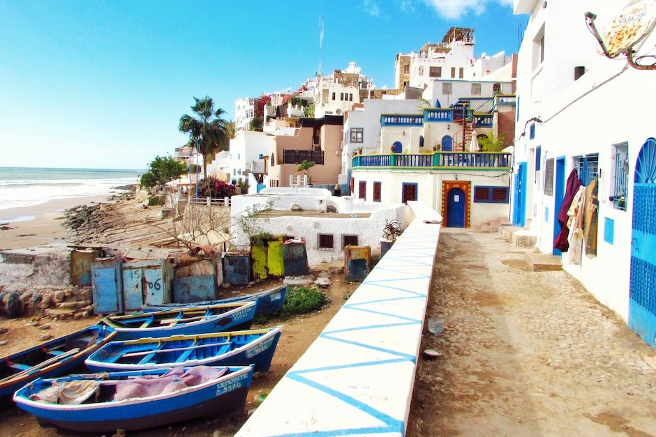 A blue and white painted seaside town in Morocco