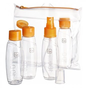 Cabin bottles set next to carry bag