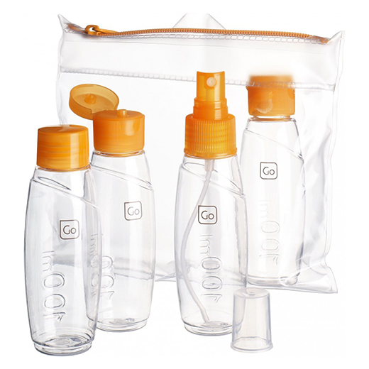 Cabin bottles set next to carry bag