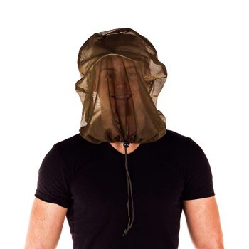 Mosquito Midge Head Net over mans head with drawstring pulled tight