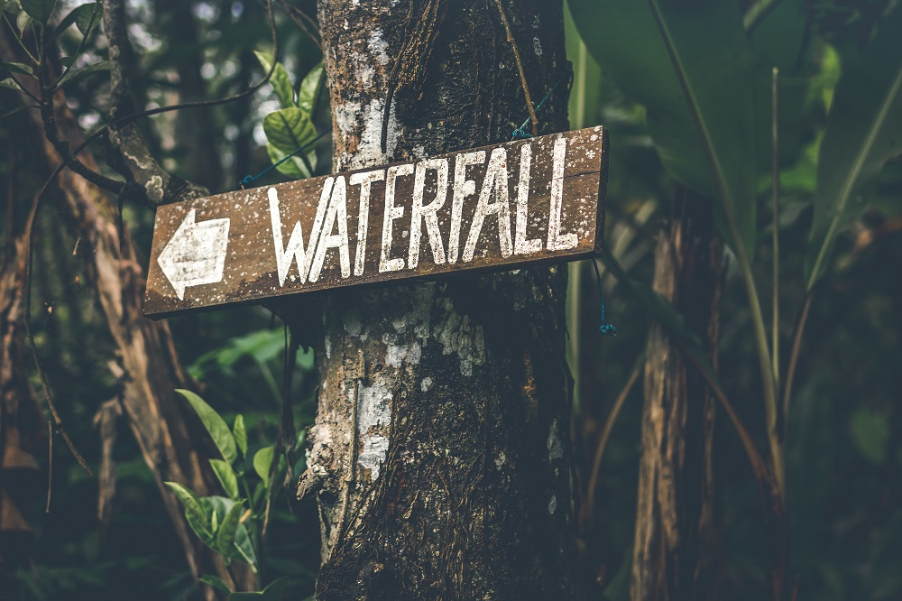 Wooden sign on a tree that says Waterfall