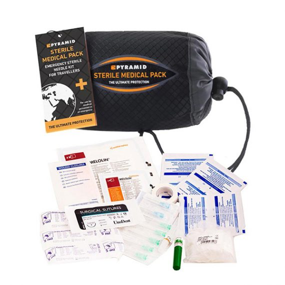 Sterile medical pack in carry case with contents around it