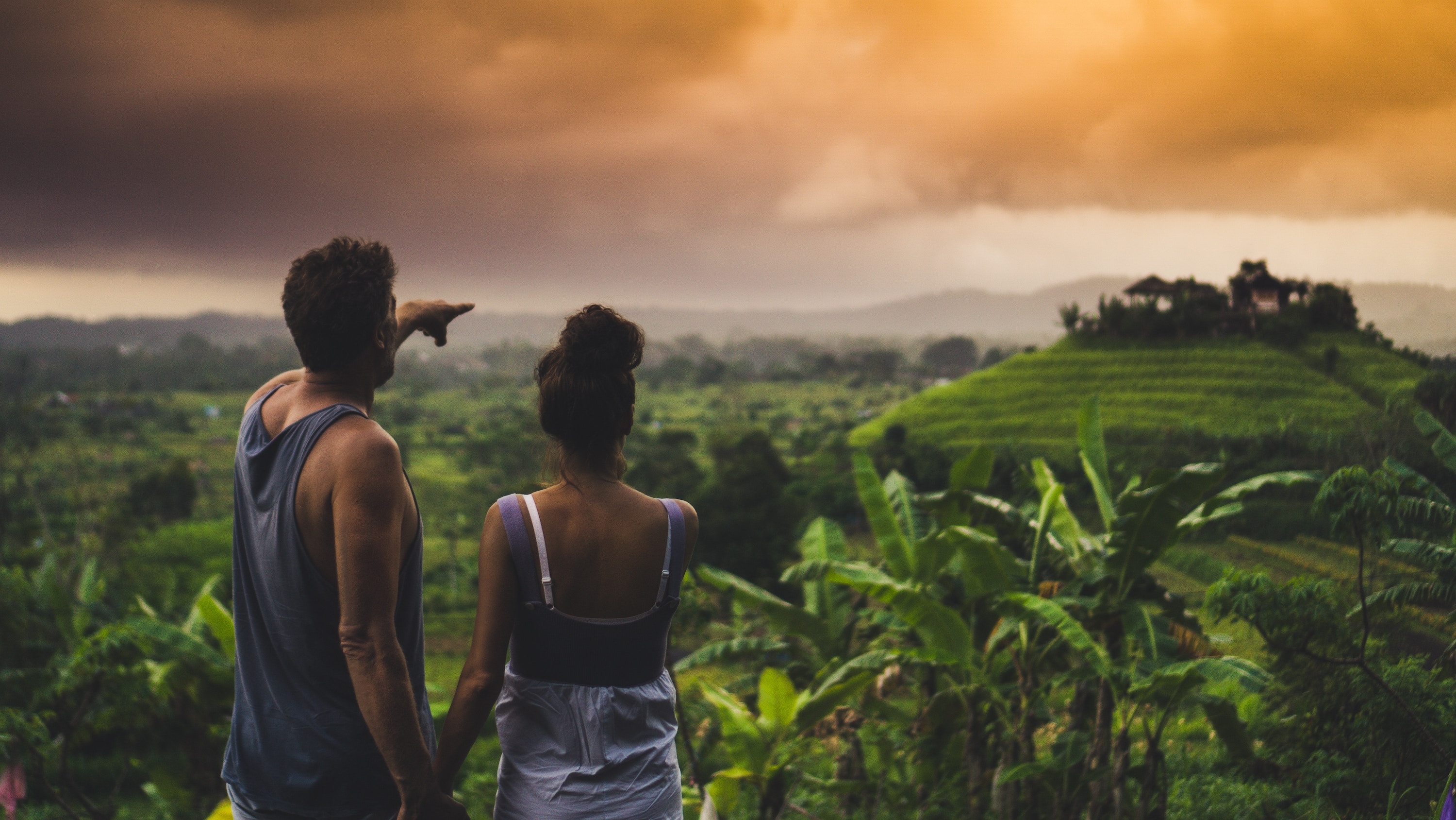 Couple looking across forest in Bali at sunset