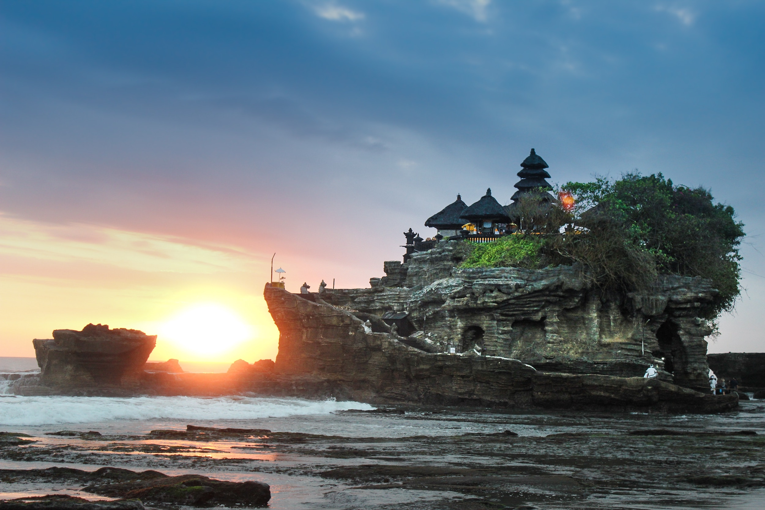 A temple in Bali, Indonesia, built on top of rocks in the sea