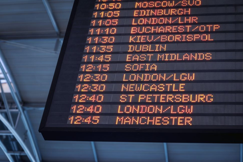 Departures board - travel from UK to Ireland