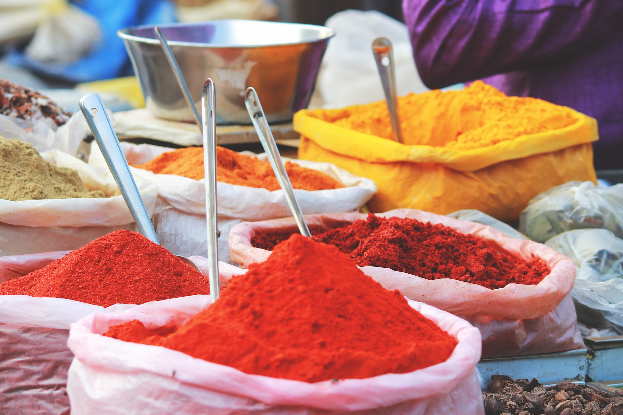 Spices on an Indian market stall