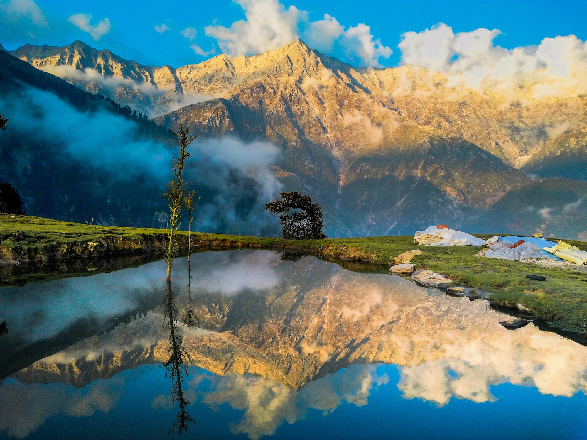 Mountains reflected in a lake in India