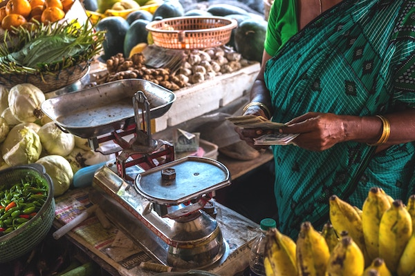 Fruit market stall in India